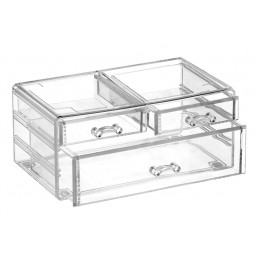 Dėžutė 24x14x11cm. plastikinė skaidri kosmetikai CRYSTAL6 FALA Y-69405