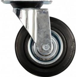 Ratukas Ø125mm. 100kg. vežimėliui besisukantis guminis juodas VOREL Y-87313