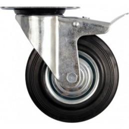 Ratukas Ø100mm. 60kg. vežimėliui besisukantis su stabdžiu guminis juodas VOREL Y-87322