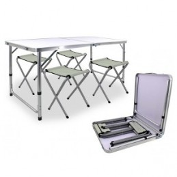 Stalas turistinis 120x80x70cm. ir 4vnt. kėdės, sulankstomi OXE8211