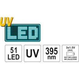 Žibintuvėlis UV 51LED ir akiniai YATO YT-08581