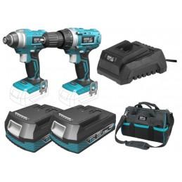 Akumuliatorinių 18V 2x2,0Ah įrankių komplektas +įrankių krepšys SAS+ALL DED7014