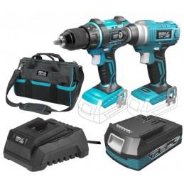 Akumuliatorinių 18V 2,0Ah įrankių komplektas + įrankių krepšys SAS+ALL DED7018