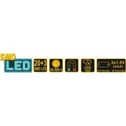 Lempa SMD LED 20+1, 100+12lm su magnetu VOREL Y-82730