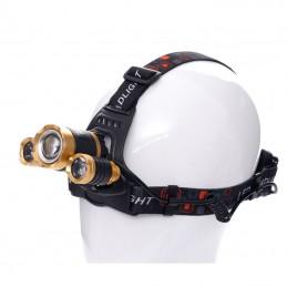 Prožektorius 1xT6LED+2xQ5LED ant galvos, įkraunamas KD1247