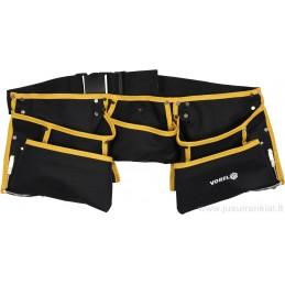 Diržas įrankiams su kišenėmis ir dviem metaliniais laikikliais VOREL Y-78751