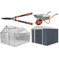 Sodo įrankiai, šiltnamiai, įrankių nameliai, karučiai, vežimėliai